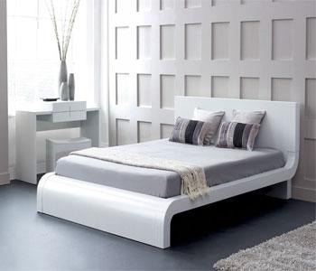 Giường ngủ gỗ công nghiệp trắng hiện đại