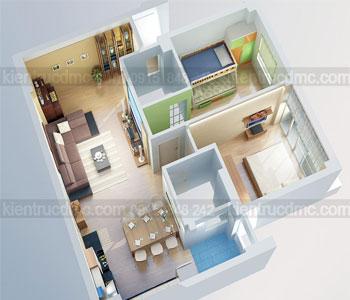 Thiết kế nội thất chung cư 80m2 ở Hoàng Đạo Thúy – Cầu Giấy