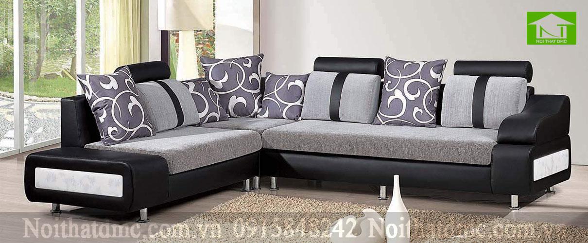 sofa phòng khách đen huyền bí và sang trọng BGPKF09