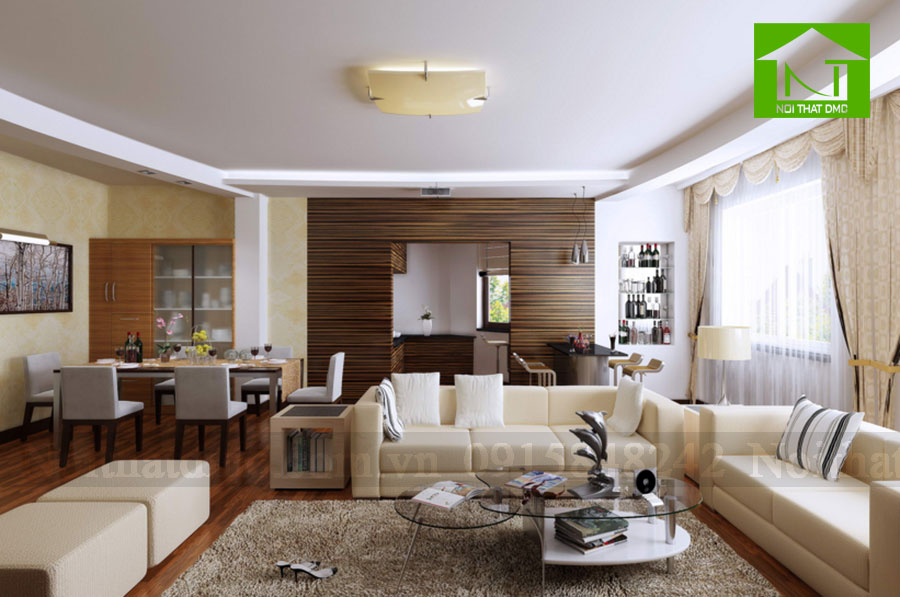 Gắn kết không gian phòng ăn và phòng khách trong thiết kế nội thất