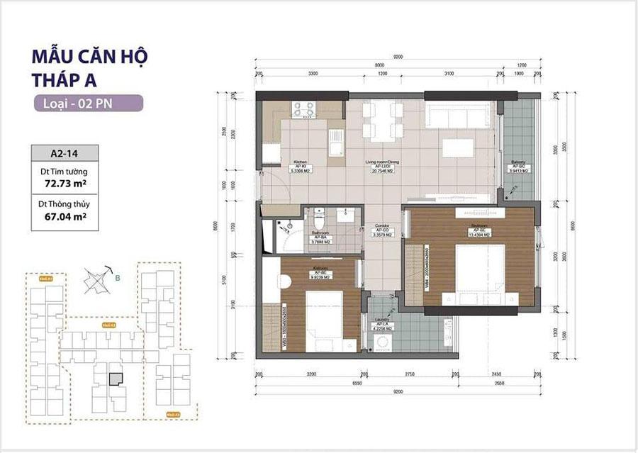 Thiết kế nội thất chung cư diện tích 80m2 thanh lịch, ấm cúng