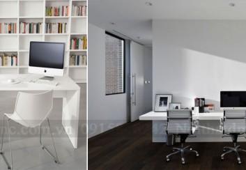 Tư vấn trang trí nội thất văn phòng với bàn làm việc trắng